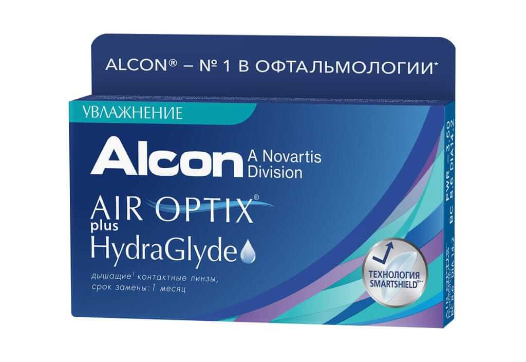 Контактные линзы Air Optix plus HydraGlyde (3 линзы)